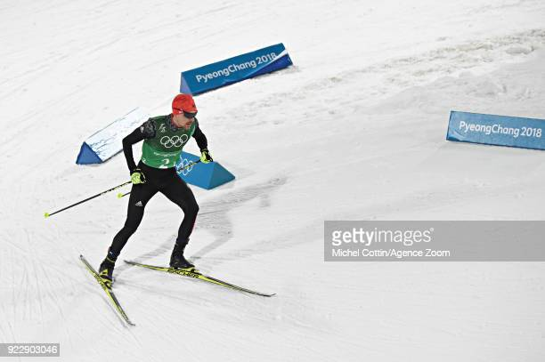 Fabian Riessle of Germany competes during the Nordic Combined Team event at Alpensia Cross-Country Centre on February 22, 2018 in Pyeongchang-gun,...