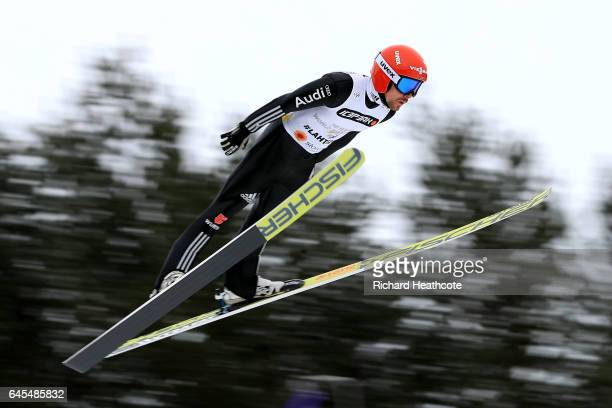 Fabian Riessle of Germany competes in the Men's Nordic Combined Team HS100 during the FIS Nordic World Ski Championships on February 26 2017 in Lahti...