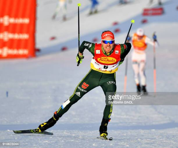 Fabian Riessle of Germany competes to place third in the FIS Nordic Combined Triple world cup on January 26 2018 in Seefeld Austria / AFP PHOTO / APA...