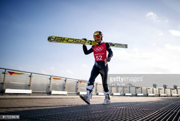 Fabian Riessle of Germany is seen during the Nordic Combined Individual Gundersen NH/10km official training on February 12 2018 in Pyeongchanggun...