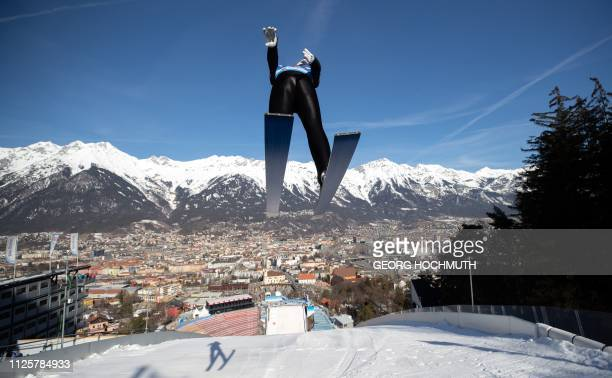 Fabian Riessle of Germany soars through the air during a training session for the Nordic Combined event of the FIS Nordic World Ski Championships on...