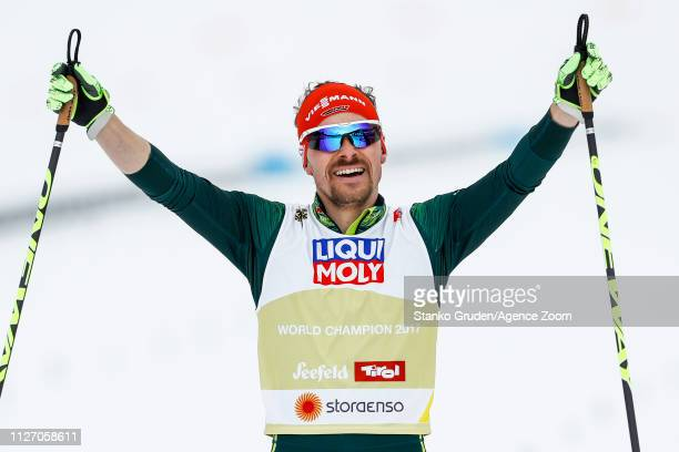 Fabian Riessle of Germany takes 1st place during the FIS Nordic World Ski Championships Men's Nordic Combined Team HS130 on February 24, 2019 in...