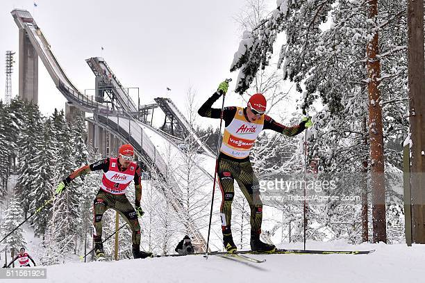 Fabian Riessle of Germany takes 1st place Eric Frenzel of Germany takes 2nd place during the FIS Nordic World Cup Men's Nordic Combined HS130/10k on...