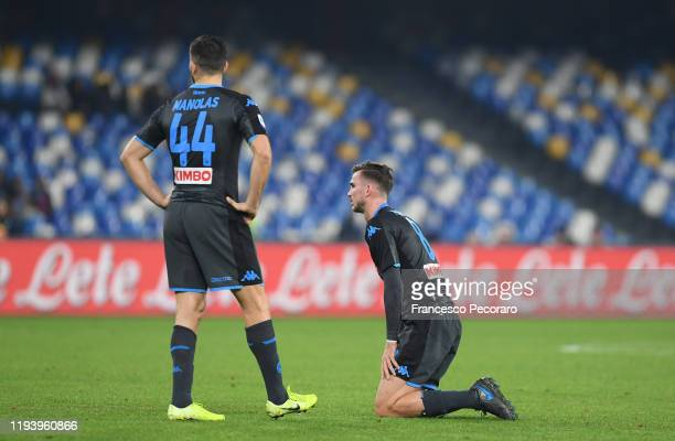 Fabian Ruiz and Kostas Manolas of SSC Napoli show their dejection during the Serie A match between SSC Napoli and Parma Calcio at Stadio San Paolo on...