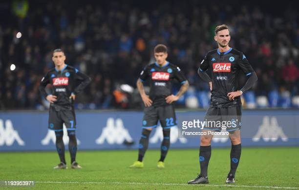 Fabian Ruiz Giovanni Di Lorenzo and Jose Callejon SSC Napoli show their disappointment during the Serie A match between SSC Napoli and Parma Calcio...