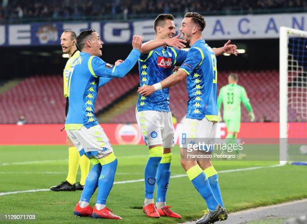 Fabian Ruiz Jose Callejon Arkadiusz Milik of SSC Napoli celebrate the 20 goal scored by Fabian Ruiz during the UEFA Europa League Round of 16 First...