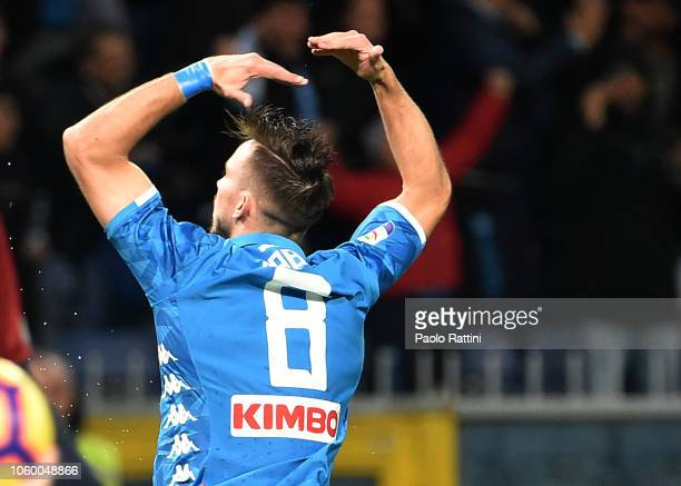 Fabian Ruiz of Napoli celebrates after scoring during the Serie A match between Genoa CFC and SSC Napoli at Stadio Luigi Ferraris on November 10 2018...