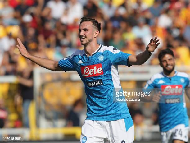 Fabian Ruiz of Napoli celebrates after scoring his team's third goal during the Serie A match between US Lecce and SSC Napoli at Stadio Via del Mare...
