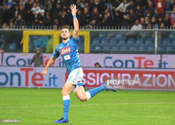 Fabian Ruiz of Napoli celebrates after scoring the first goal of his team during the Serie A match between Genoa CFC and SSC Napoli at Stadio Luigi...