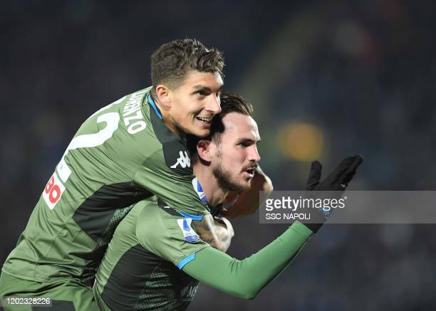 Fabian Ruiz of Napoli celebrates after scoring the second goal of his team during the Serie A match between Brescia Calcio and SSC Napoli at Stadio...
