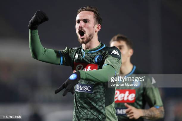 Fabian Ruiz of Napoli celebrates after scoring to give his side a 21 lead during the Serie A match between Brescia Calcio and SSC Napoli at Stadio...