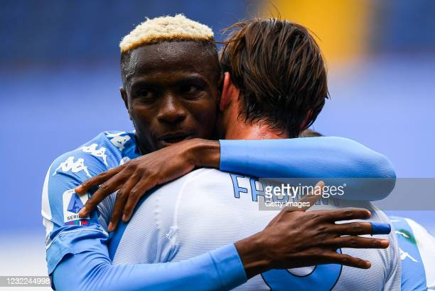 Fabian Ruiz of Napoli celebrates with his team-mate Victor Osimhen after scoring a goal during the Serie A match between UC Sampdoria and Ssc Napoli...