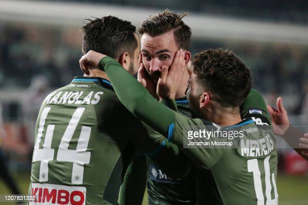 Fabian Ruiz of Napoli celebrates with teammates after scoring to give his side a 21 lead during the Serie A match between Brescia Calcio and SSC...