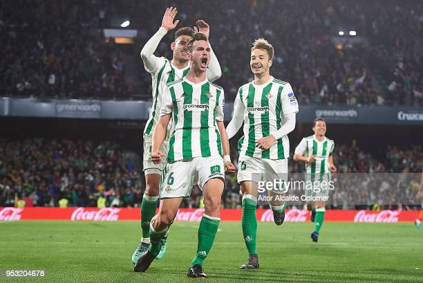 Fabian Ruiz of Real Betis Balompie celebrates after scoring the second goal of Real Betis Balompie during the La Liga match between Real Betis and...
