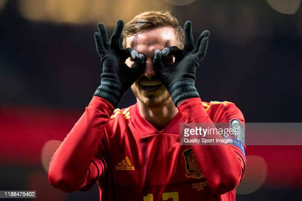 Fabian Ruiz of Spain celebrates after scoring his team's first goal during the UEFA Euro 2020 Qualifier between Spain and Romania on November 18,...