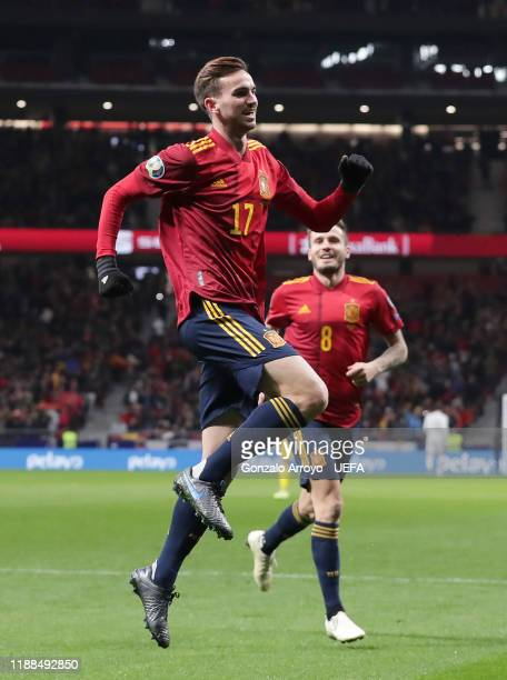 Fabian Ruiz of Spain celebrates after scoring his team's first goal during the UEFA Euro 2020 Qualifier between Spain and Romania on November 18 2019...