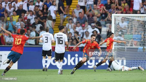 Fabian Ruiz of Spain celebrates scoring his team's first goal during the 2019 UEFA U21 Final between Spain and Germany at Stadio Friuli on June 30...