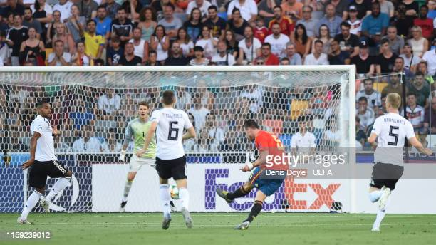 Fabian Ruiz of Spain scores his team's first goal during the 2019 UEFA U21 Final between Spain and Germany at Stadio Friuli on June 30 2019 in Udine...