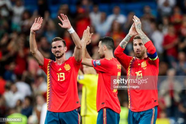Fabian Ruiz of Spain Sergio Busquets of Spain Sergio Ramos of Spain during the EURO Qualifier match between Spain v Sweden at the Estadio Santiago...