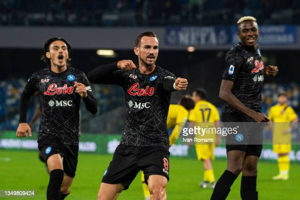 Fabian Ruiz of SSC Napoli celebrates after scoring a goal to make it 1-0 during the Serie A match between SSC Napoli and Bologna FC at Stadio Diego...