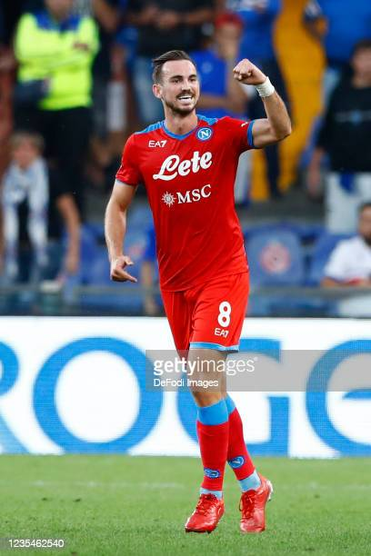 Fabian Ruiz of SSC Napoli celebrates after scoring his team's second goal during the Serie A match between UC Sampdoria and SSC Napoli at Stadio...