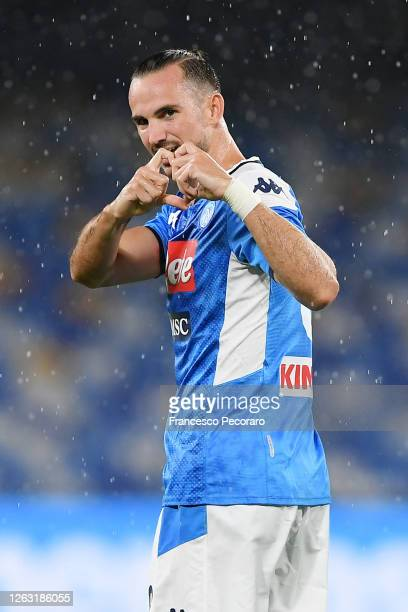 Fabian Ruiz of SSC Napoli celebrates after scoring the 10 goal during the Serie A match between SSC Napoli and SS Lazio at Stadio San Paolo on August...
