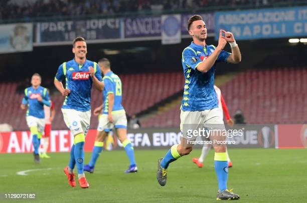 Fabian Ruiz of SSC Napoli celebrates after scoring the 20 goal during the UEFA Europa League Round of 16 First Leg match between SSC Napoli and Red...