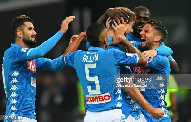 Fabian Ruiz of SSC Napoli celebrates after scoring the opening goal during the Serie A match between Udinese and SSC Napoli at Stadio Friuli on...