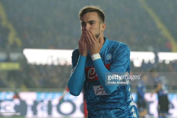 Fabian Ruiz of SSC Napoli celebrates after scoring the opening goal during the Serie A match between Atalanta BC and SSC Napoli at Stadio Atleti...