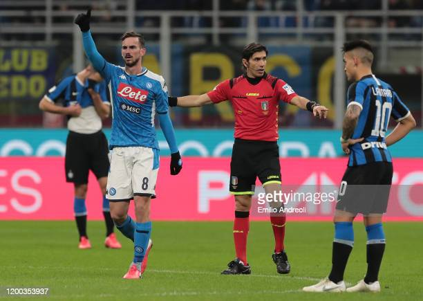 Fabian Ruiz of SSC Napoli celebrates after scoring the opening goal during the Coppa Italia Semi Final match between FC Internazionale and SSC Napoli...