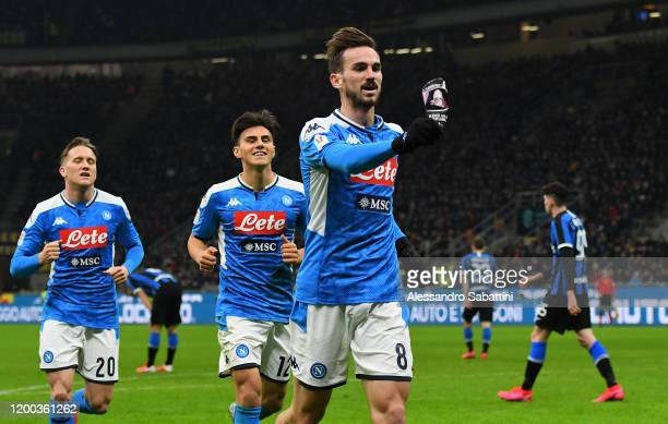 Fabian Ruiz of SSC Napoli celebrates after scoring the opening goalduring the Coppa Italia Semi Final match between FC Internazionale and SSC Napoli...