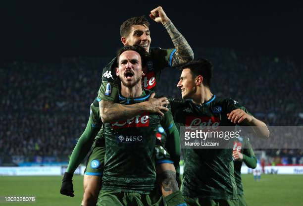 Fabian Ruiz of SSC Napoli celebrates after scoring the second goal of his team with teammates during the Serie A match between Brescia Calcio and SSC...