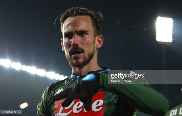 Fabian Ruiz of SSC Napoli celebrates after scoring the second goal of his team during the Serie A match between Brescia Calcio and SSC Napoli at...