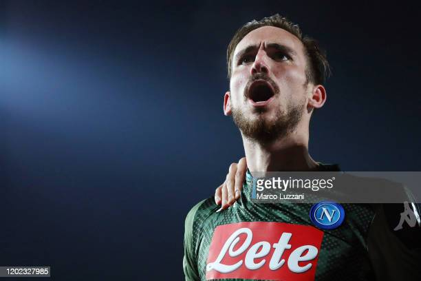 Fabian Ruiz of SSC Napoli celebrates his goal during the Serie A match between Brescia Calcio and SSC Napoli at Stadio Mario Rigamonti on February 21...