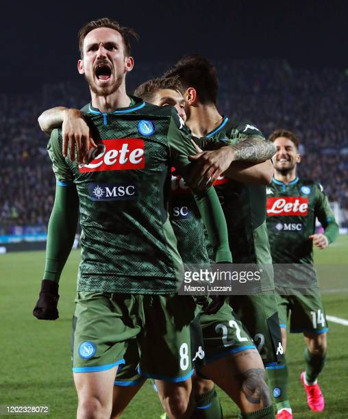 Fabian Ruiz of SSC Napoli celebrates his goal with his teammates during the Serie A match between Brescia Calcio and SSC Napoli at Stadio Mario...