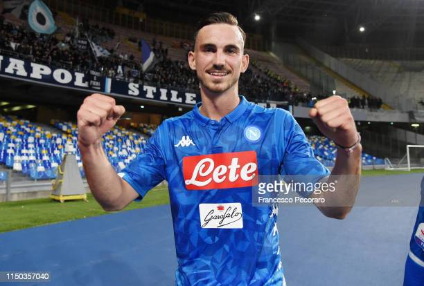 Fabian Ruiz of SSC Napoli celebrates the victory after the Serie A match between SSC Napoli and FC Internazionale at Stadio San Paolo on May 19 2019...