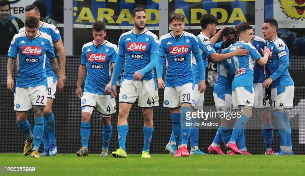 Fabian Ruiz of SSC Napoli celebrates with his teammates after scoring the opening goal during the Coppa Italia Semi Final match between FC...