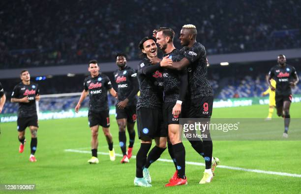 Fabian Ruiz of SSC Napoli celebrates with team mates Elif Elmas and Victor Osimhen after scores his Opening Goal ,during the Serie A match between...