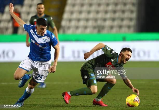 Fabian Ruiz of SSC Napoli clashes with Dinitri Bisoli of Brescia Calcio during the Serie A match between Brescia Calcio and SSC Napoli at Stadio...