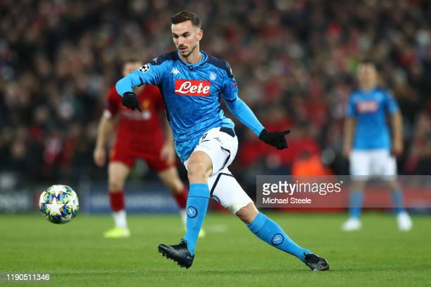 Fabian Ruiz of SSC Napoli during the UEFA Champions League group E match between Liverpool FC and SSC Napoli at Anfield on November 27 2019 in...