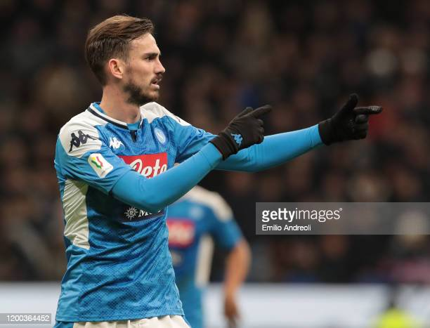 Fabian Ruiz of SSC Napoli gestures during the Coppa Italia Semi Final match between FC Internazionale and SSC Napoli at Stadio Giuseppe Meazza on...