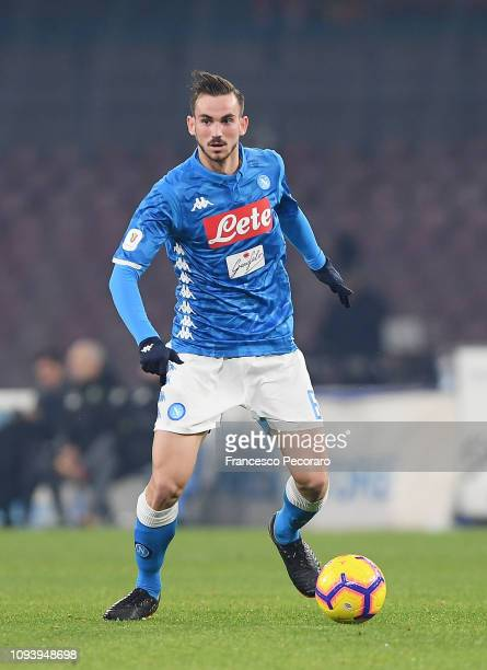 Fabian Ruiz of SSC Napoli in action during the Coppa Italia match between SSC Napoli and US Sassuolo at Stadio San Paolo on January 13 2019 in Naples...