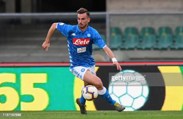 Fabian Ruiz of SSC Napoli in action during the Serie A match between Chievo Verona and SSC Napoli at Stadio Marc'Antonio Bentegodi on April 14 2019...