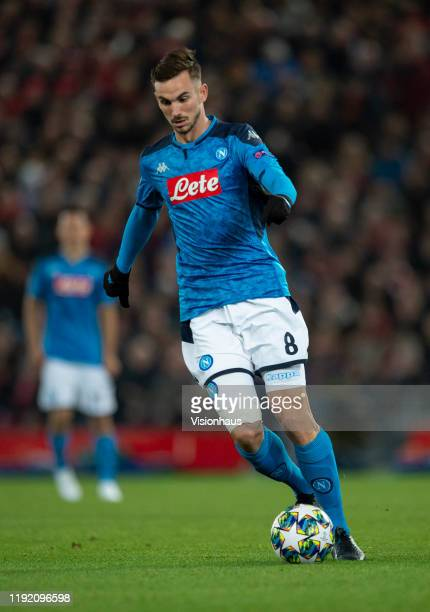 Fabian Ruiz of SSC Napoli in action during the UEFA Champions League group E match between Liverpool FC and SSC Napoli at Anfield on November 27 2019...