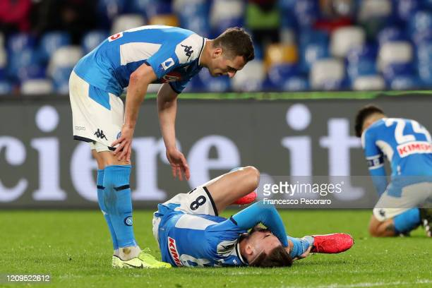 Fabian Ruiz of SSC Napoli injured during the Serie A match between SSC Napoli and Torino FC at Stadio San Paolo on February 29 2020 in Naples Italy
