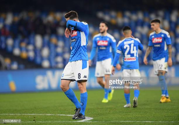 Fabian Ruiz of SSC Napoli stands disappointed during the Serie A match between SSC Napoli and ACF Fiorentina at Stadio San Paolo on January 18 2020...