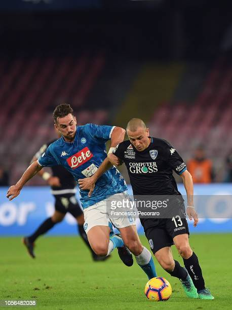 Fabian Ruiz of SSC Napoli vies Luca Antonelli of Empoli during the Serie A match between SSC Napoli and Empoli at Stadio San Paolo on November 2 2018...