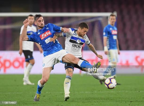Fabian Ruiz of SSC Napoli vies Papu Gomez of Atalanta BC during the Serie A match between SSC Napoli and Atalanta BC at Stadio San Paolo on April 22...