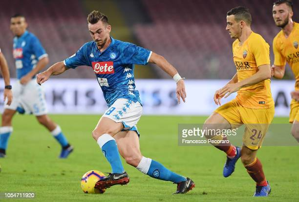 Fabian Ruiz of SSC Napoli vies with Alessandro Florenzi of AS Roma during the Serie A match between SSC Napoli and AS Roma at Stadio San Paolo on...