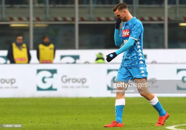 Fabian Ruiz of SSC Napoli walks off after getting a red card during the Serie A match between AC Milan and SSC Napoli at Stadio Giuseppe Meazza on...